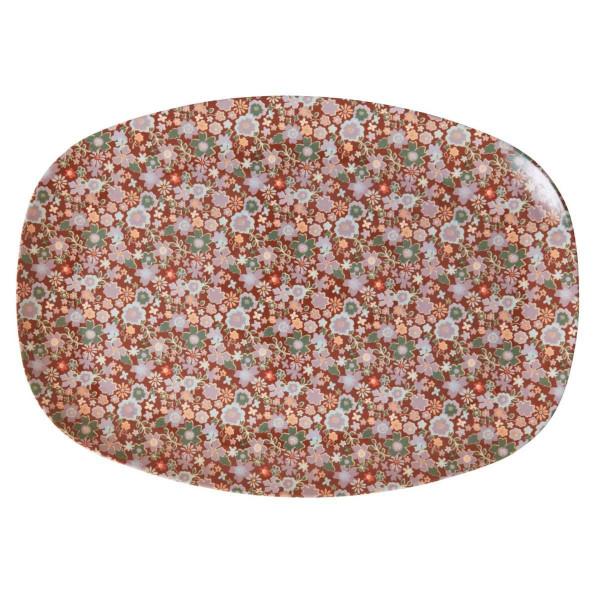 Melamin Teller Herbstliche Blumen rechteckig, Firma Rice