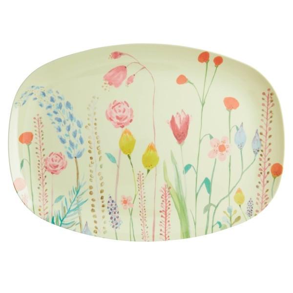Melamin Teller Sommerblumen rechteckig , Firma Rice