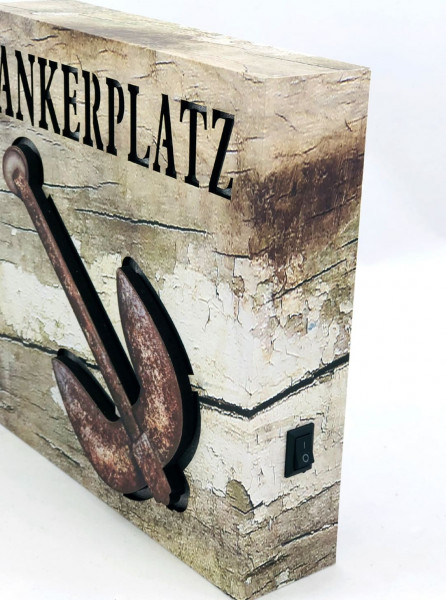 Holz-Lichtbild Ankerplatz (Lichtbild, Shabby, Anker, Leuchtbild, 3-D)