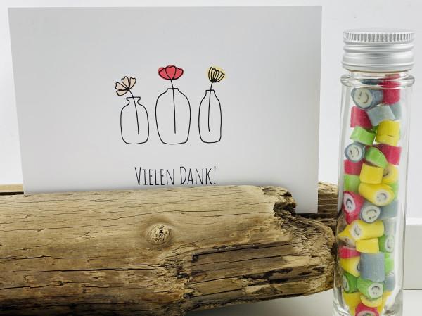 """Handgemachte Sylter Bonbons Rocks Smileys mit handgeschriebenem Kartengruß """"Vielen Dank"""""""