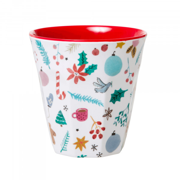 Melamin-Becher Weihnachten,rot , 9 cm x 9 cm, Firma Rice