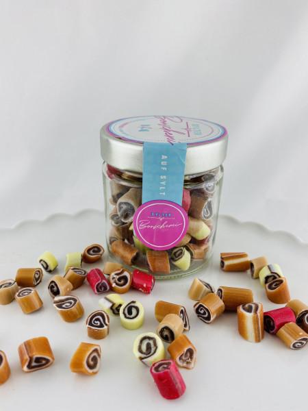 Handgemachte Sylter Bonbons Rocks Schoko-Spiralen-Mix 150 gr.: verschiedene Geschmäcker ; süß