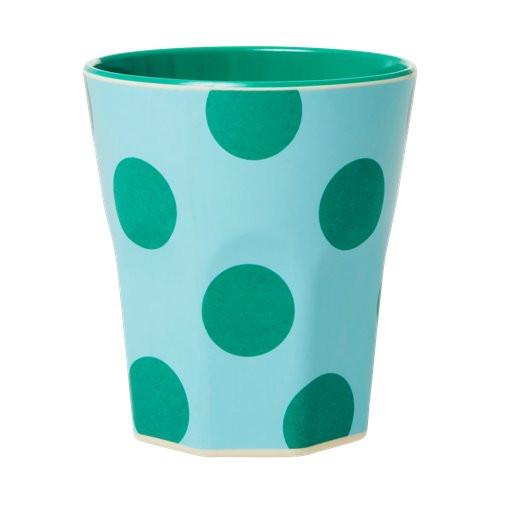 Melamin Jumbo-Becher Punkte grün, 10 cm x 9 cm, Firma Rice