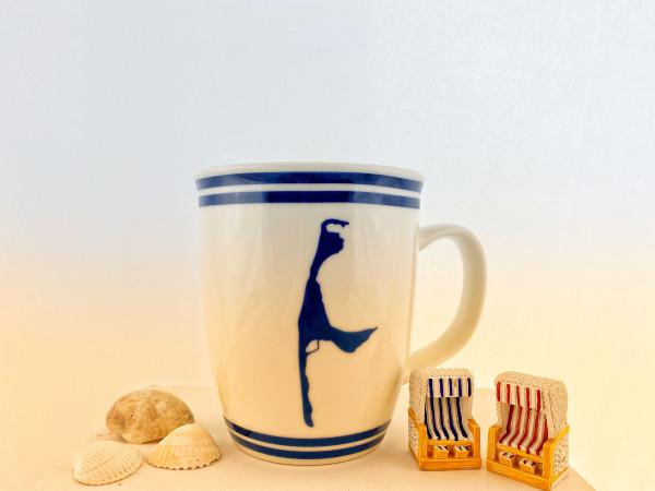 Sylt Becher Blau/Weiß, Insel Sylt, 350 ml (Becher, Tasse, Kaffeetasse, Teetasse, Ebbe und Flut)