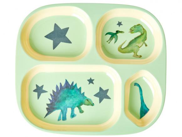 Melamin Menüteller Dinosaurier mit 4er Einteilung, Firma Rice