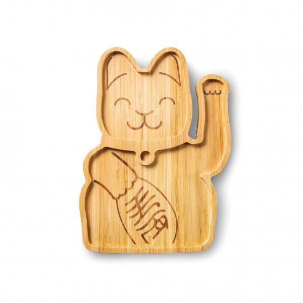 Lucky Cat, Bambusteller (Teller, Natur, Ökologisch, Katze, Kinder)