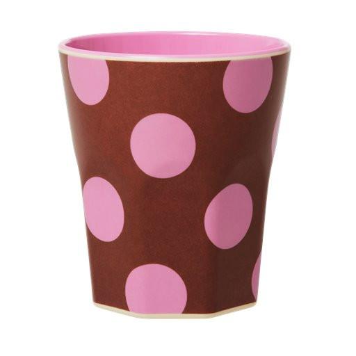 Melamin Jumbo-Becher Punkte pink, 10 cm x 9 cm, Firma Rice