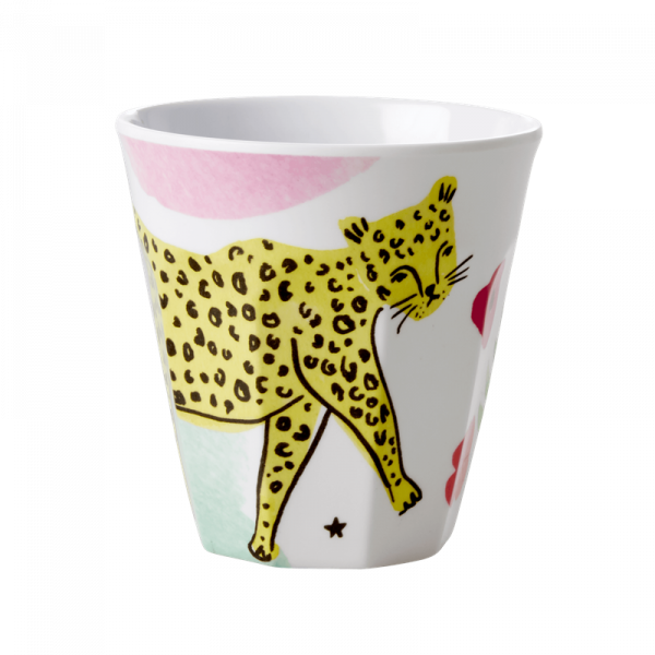Melamin-Becher Leopard, 9 cm x 9 cm, Firma Rice