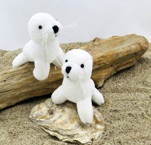 Plüsch Seehund, weiß, 10 cm (Robbe, Plüschtier, Kuscheltier)