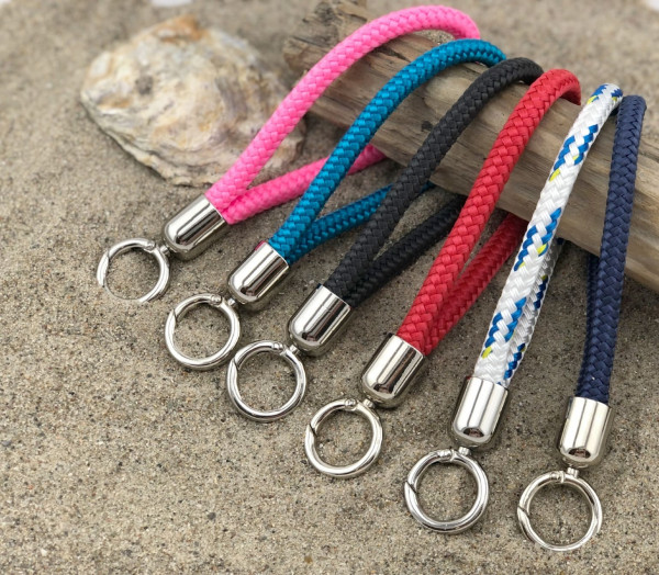 Schlüsselband Maat (D=8mm),Weiß-Blau, Segeltau mit Syltgravur (Tampen, Schlüsselanhänger, Sylt, Schl