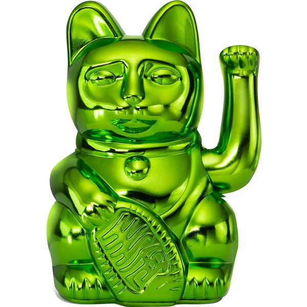 Winkekatze Katze Maneki Neko Japan Lucky Cat Shiny Green