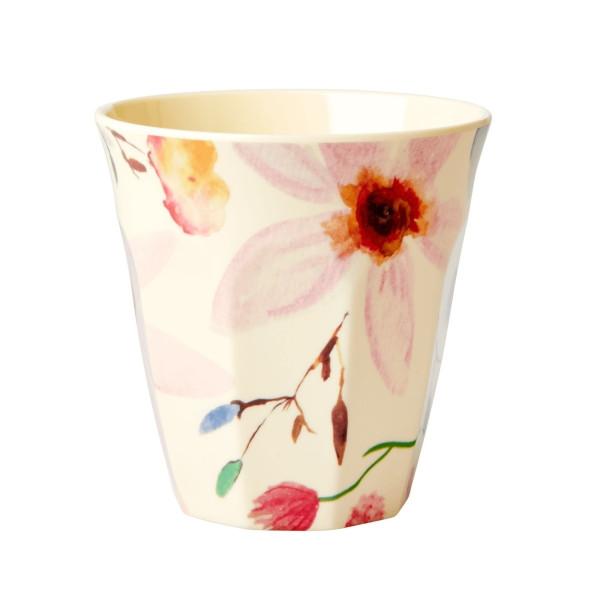 Melamin-Becher Selmas Blumen, 9 cm x 9 cm, Firma Rice
