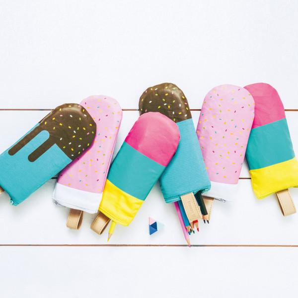 Federmäppchen Tutti Frutti (Schreibutensilien, Federtasche, Schreibtisch, Schule, Eis am Stil, Dekor