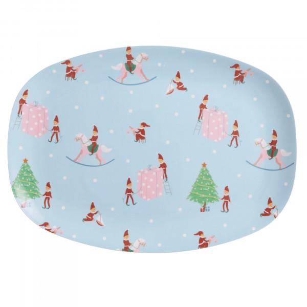 Melamin Teller Weihnachtselfen rechteckig, Firma Rice