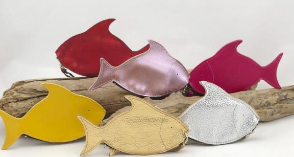 Geldbörse Fisch Leder silber (Börse, Portemonnaie, Brieftasche, Geldtasche)