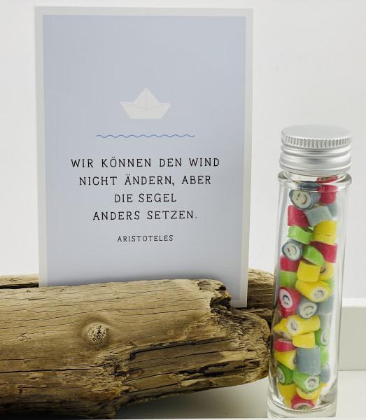 """Handgemachte Sylter Bonbons Rocks Smileys mit handgeschriebenem Kartengruß """"Wir können den Wind"""