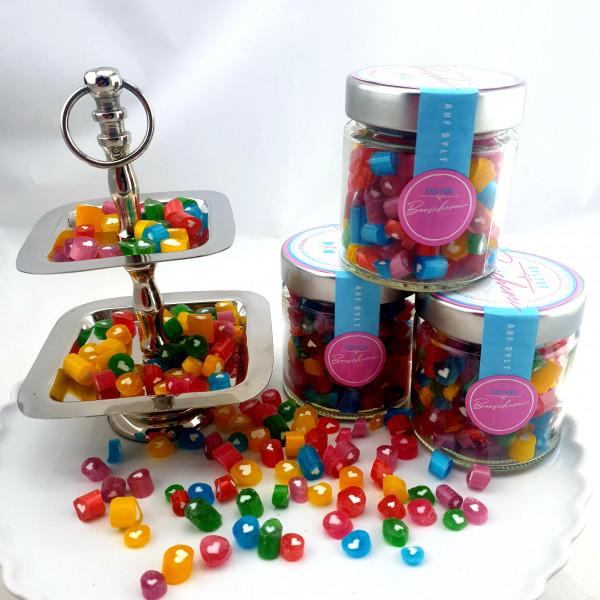Handgemachte Sylter Bonbons Rocks Herzchen-Mischung 150 gr.: verschiedene Geschmäcker ; süß,sauer