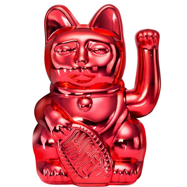Winkekatze Katze Maneki Neko Japan Lucky Cat Shiny Red