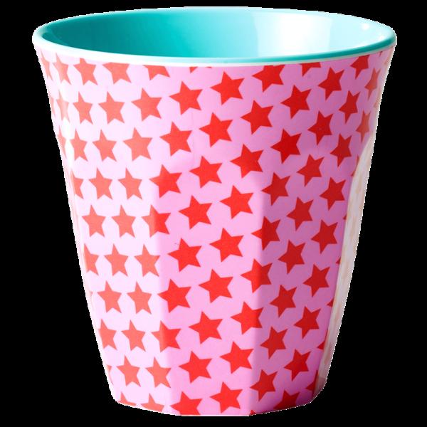 Melamin-Becher Sterne rot, 9 cm x 9 cm, Firma Rice