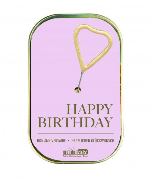 Wondercake Happy Birthday, rosa Rührkuchen m.Vollmilchschokolade