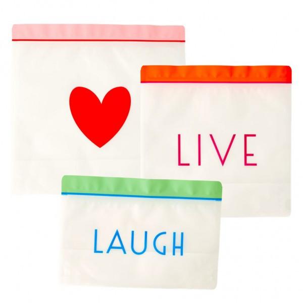 Ziplock Beutel wiederverschliessbar, Live,Love,Laugh, Firma Rice