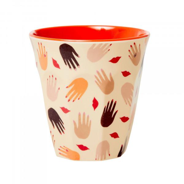 Melamin-Becher Hand und Mund, 9 cm x 9 cm, Firma Rice