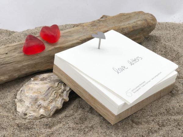 Herz Nagel Merkzettel Love Letters....(Notizzettel, Notizblock, Notizen, Schreibblock, Block)