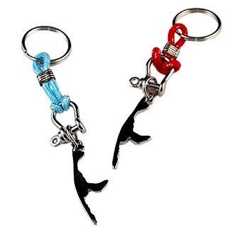 Schlüsselanhänger rot oder hellblau mit Insel Sylt aus Metall