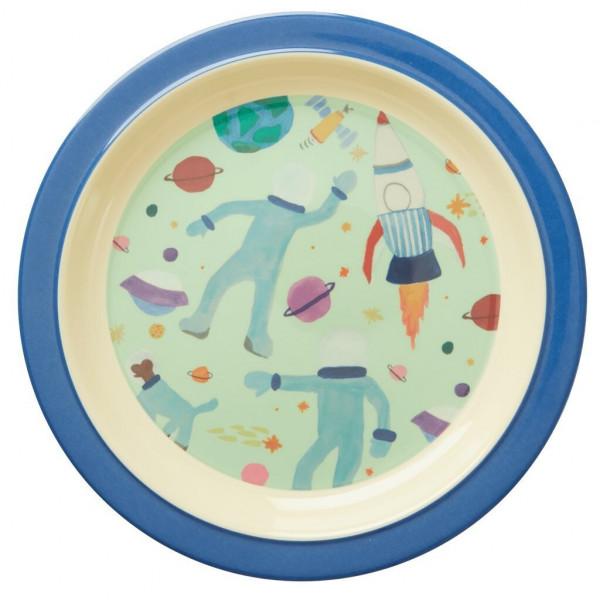 Melamin Kinderteller Weltraum, rund, Firma Rice