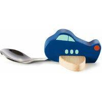 Knatter Kinderlöffel, blau, Holzflugzeug mit Löffel (Essen,Kinder,Spass)
