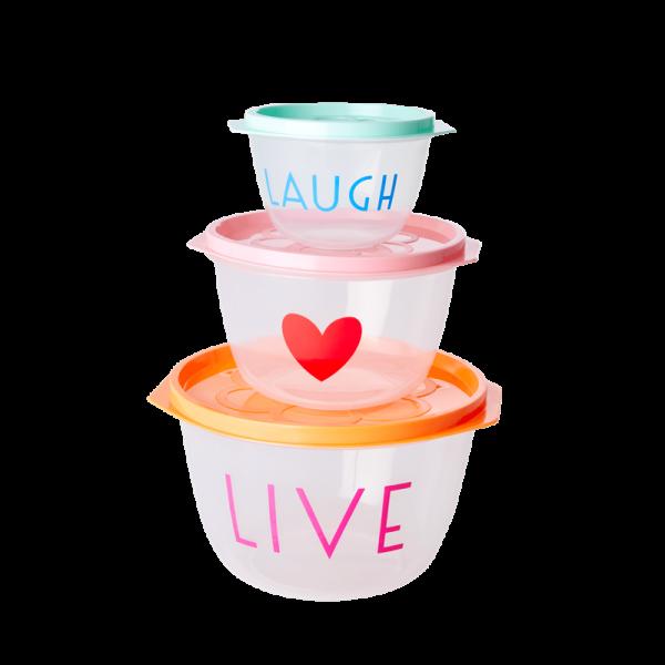 Lebensmittelboxen rund 3er-Set, Live & Laugh, Firma Rice