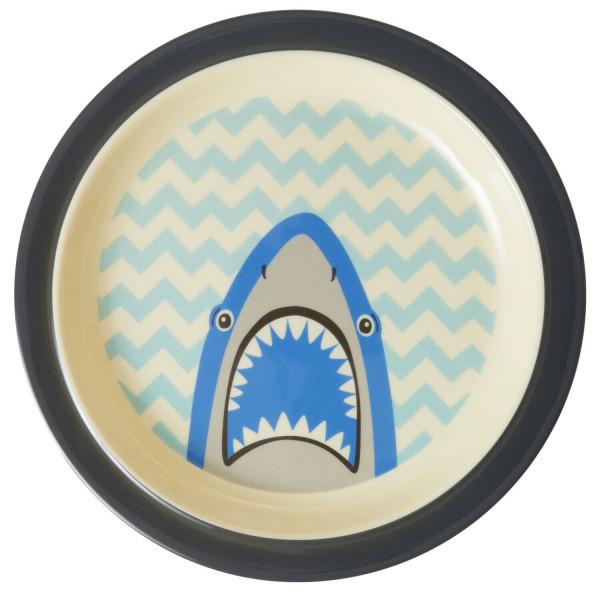 Melamin Kinderteller Hai, rund, Firma Rice