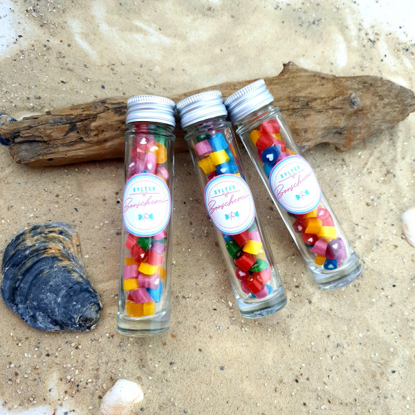 Handgemachte Sylter Bonbons Rocks Herzchen-Mischung 40 gr.: verschiedene Geschmäcker ; süß,sauer