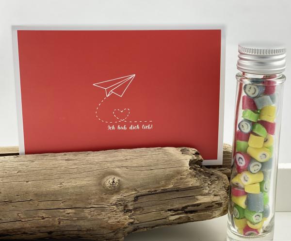 """Handgemachte Sylter Bonbons Rocks Smileys mit handgeschriebenem Kartengruß """"Ich hab Dich lieb"""""""