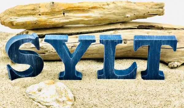 Holzbuchstaben Sylt, Blau (Dekoration Dekobuchstaben Sylt Urlaub Natur)
