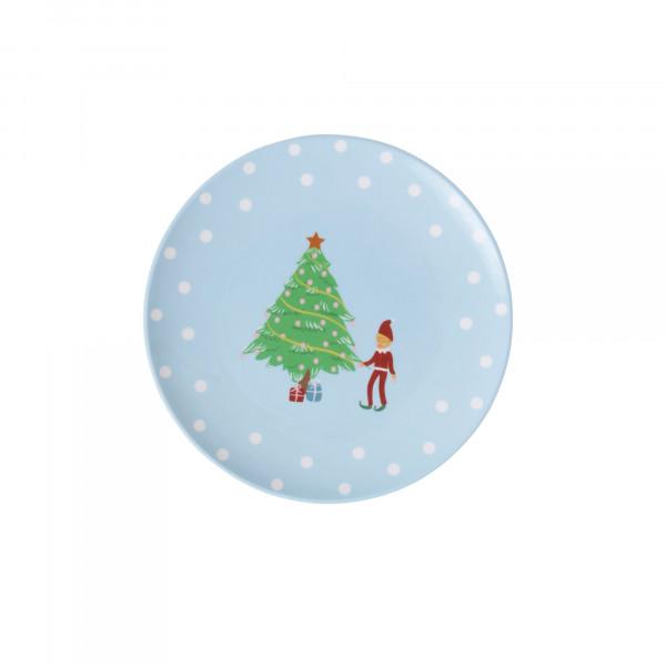 Dessertteller Weihnachtselfen, blau, 16,5cm, Firma Rice