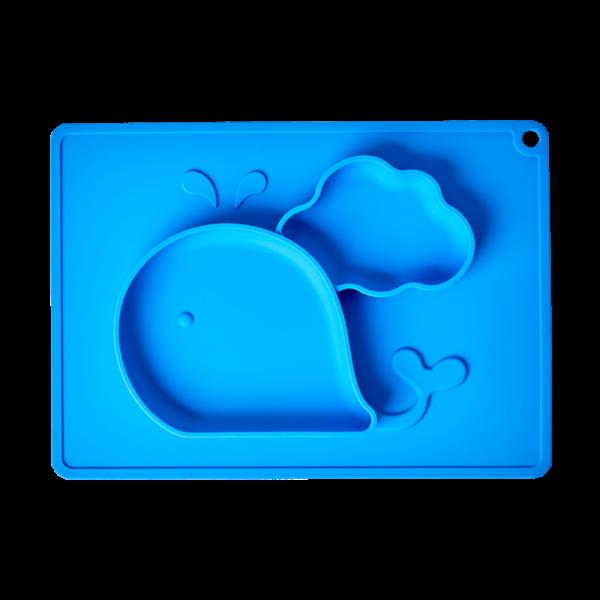 Silikon Kinderteller Wal blau, Firma Rice