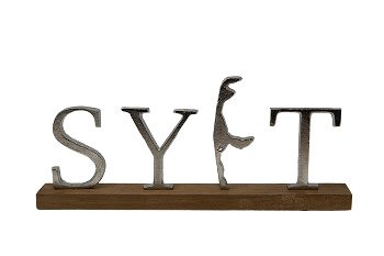 """Metallbuchstaben """"SYLT"""" mit Inselreliev, 27,5 cm x 14 cm (Dekoration, Bad, Küche, Appartement)"""