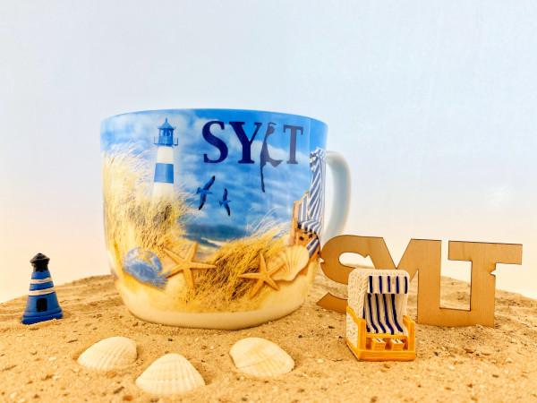 Jumbo-Becher Sylt, Strand-Design, 700 ml (Becher, Tasse, Kaffeetasse, Teetasse, Ebbe und Flut)
