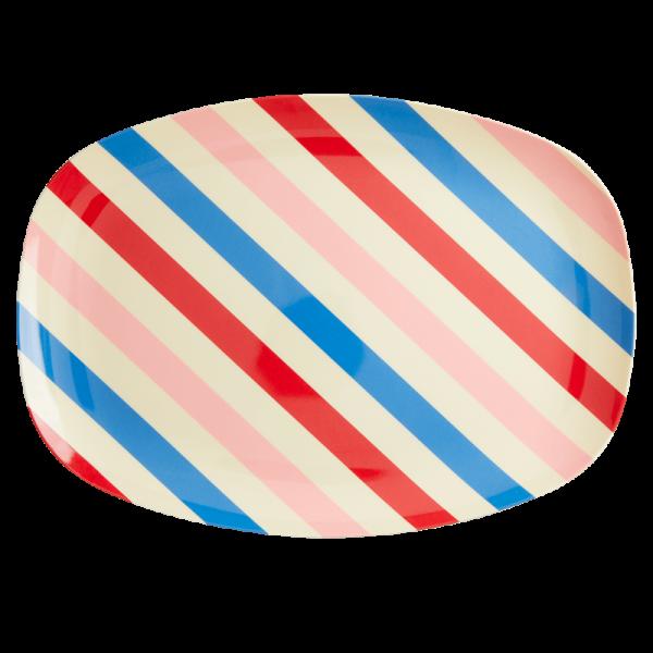 Melamin Teller Streifen rechteckig, Firma Rice