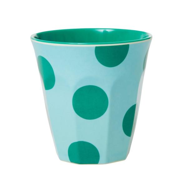 Melamin-Becher Punkte Grün, 9 cm x 9 cm, Firma Rice