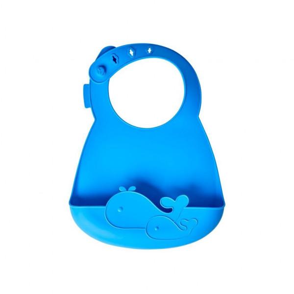 Silikon Babylätzchen Wal blau, Firma Rice