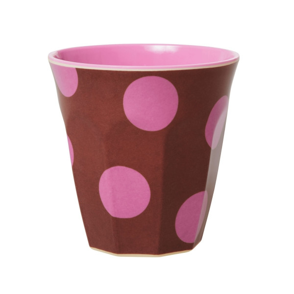 Melamin-Becher Punkte Pink, 9 cm x 9 cm, Firma Rice