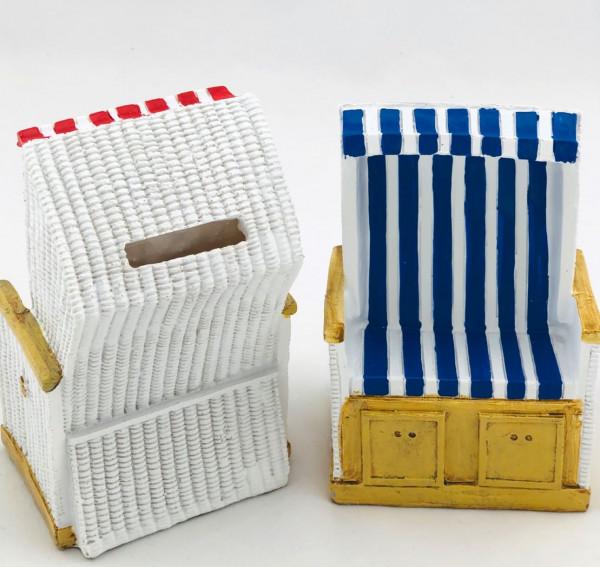Spardose Strandkorb blau/weiß (Sparbank Sparbüchse Sylt)