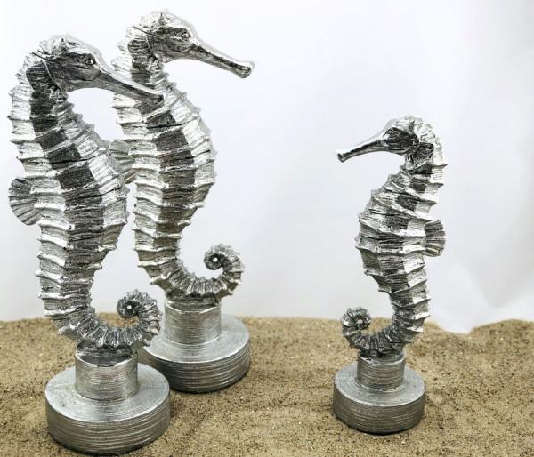 Seepferdchen auf Sockel,Silber, groß (Dekoration, Bad, Küche, Appartement)