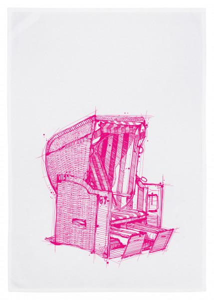 Geschirrtuch weiß, Strankorb neon pink (Geschirrtuch, Geschirrhandtuch, Dekoration, Küche)