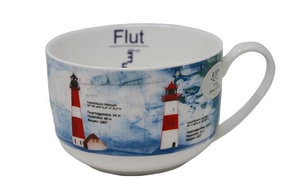 Becher Leuchtfeuer Sylt, ca.600 ml (Porzellanbecher, Küche, Tasse, Kaffeetasse,Teetasse)