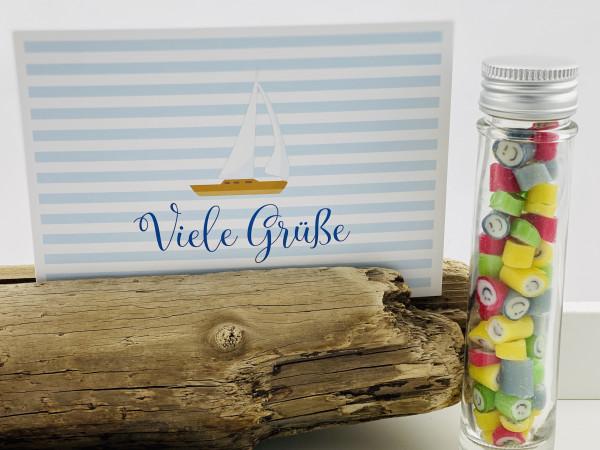 """Handgemachte Sylter Bonbons Rocks Smileys mit handgeschriebenem Kartengruß """"Viele Grüße"""""""