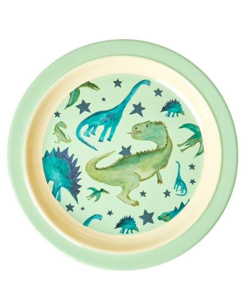 Melamin Kinderteller Dinosaurier, rund, Firma Rice