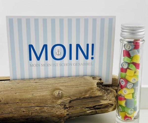 """Handgemachte Sylter Bonbons Rocks Smileys mit handgeschriebenem Kartengruß """"Moin"""""""